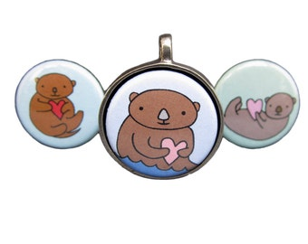 Otter Necklace Set - 3 Pendants in one - Sea Otter Interchangeable Magnetic Necklaces