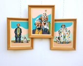 Clown Paint By Numbers Framed Art, Set of 3, Mid Century Home Decor