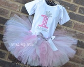 "Pink Polka Dot and Silver Birthday Number Crown ""Addison"" Tutu Outfit, Pink and Silver Princess Tutu Set, Princess Party Tutu Set"