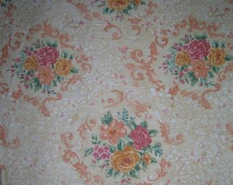 Vintage Upholstery Drapery Fabric Roses Yardage Rosamund by Moygashel English Irish Made in the U.K 56x36