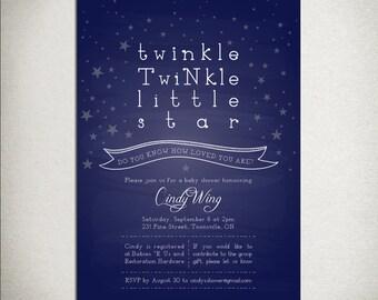 BABY SHOWER Printable Twinkle Twinkle Little Star Invitation - navy blue gender neutral