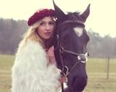 Deep red velvet flower crown, rose hairband, floral hairpiece, bridal crown