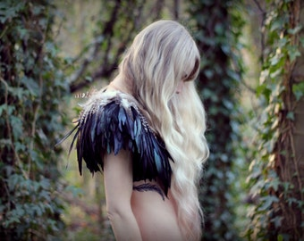 Black and natural feather shrug, steampunk cape, feathered capulet