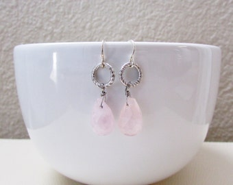 Wire Wrapped Pink Briolette Earrings