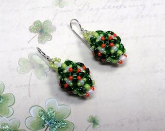 Beaded St. Patrick Earrings, Seed Bead Earrings, St. Patrick's Day Earrings, Irish Earrings,  Holiday Earrings, St. Patrick's Day Jewelry