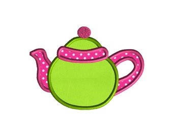 Teapot Applique Machine Embroidery Design-INSTANT DOWNLOAD