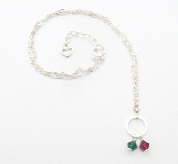 Mommy Necklace - Small Circle  - Custom Made to Match Family Birthstone Colors