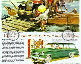 Vintage Plymouth Ethyl 1953 Auto Poster print. Plymouth, Locomobile, Manhattan, Saxon. 1950s automobile advert. Instant Download.