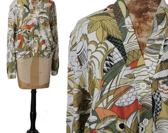 70s Kimono Blouse by BOA Paris, Rare Exotica Pattern, Light Jacket Palm Print ExoticDisco Kimono Top Green Olive Coral White