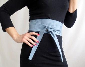 Periwinkle suede obi belt , light blue obi belt, vegan leather sash belt, light blue belt, faux leather belt, suede belt