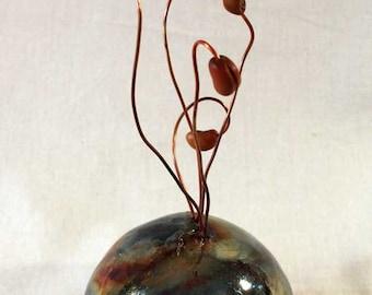 New Growth Mixed Media Raku Ceramic Sculpture