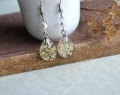 Queen Anne's Lace Real Pressed Flower Teardrop Resin Dangle Earrings