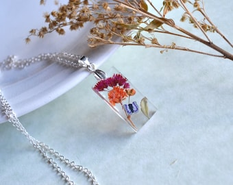 Real Pressed Red Solidaster Orange Baby's Breath and Fern Resin Pendant With Purple Butterfly