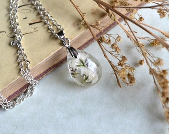 Baby's Breath Real Pressed Flower Teardrop Resin Pendant