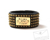 enjoy the ride: leather wrap bracelet hand stamped brass studs and brown leather, july supply loveletters