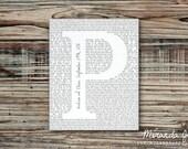 Monogrammed Wedding Song Newsprint, Valentine's Day Gift - Typography Print by MJDandSupply
