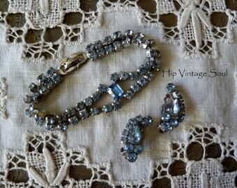 Vintage 1950's Blue Rhinestone Bracelet and Earring Set, Retro, Something Old, Something Blue