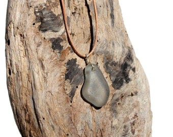 Hawaiian Rare Grey Beach Glass Wire Wrapped in 925 Sterling Silver on India Leather Necklace