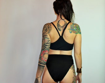 Custom Extra High French Cut High Waist 80's Bikini Swimsuit Bottoms /Any Size /32 Colors and Prints /Made to Measure