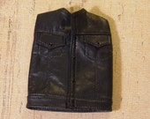 Black Motorcycle Simulated Leather Collarless Vest in 1/6th scale (Made to Order)