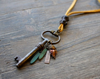 Antique Skeleton Key on Leather Necklace, Inspirational, Pearl and Boho Charms, Ocher Yellow and Teal