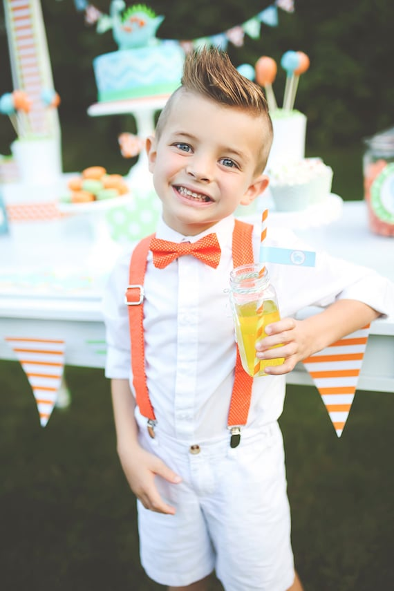 Orange Polka Dot Bow Tie Amp Suspenders Boys Suspenders And Bow