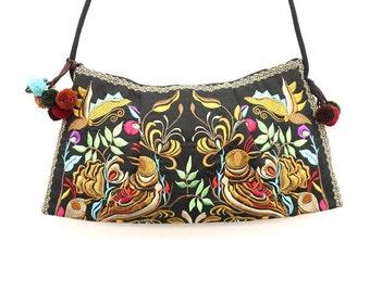 Gold Cross Body Bag With Pom Pom Strap Handmade by HMONG Thai Hill Tribe (BG138-GD)
