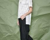 Women Cotton White Shirt - Asymmetrical Shirt - Short Sleeve Shirt - Free Shipping