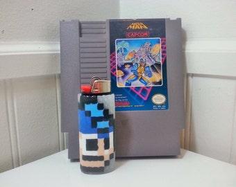 Mega Man Perler Bead LIGHTER CASE - nintendo