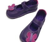 Handmade leather girls Mary Jane butterfly shoes.  Girls shoes.  Children's shoes. Toddler Shoes. Summer Shoes
