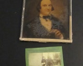 Reserved HUGE Ambrotype Freemason Photograph with Watercolor Painting -  Antique Ambro Photo with Mason Symbol
