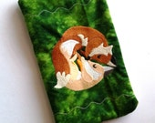 Foxes in the Green Embroidered Zipper Pouch, Cosmetic Bag, Purse Pouch