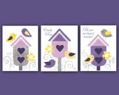 PURPLE GRAY girls decor, baby girl nursery, sets of 3, lavender yellow, bird wall art, 8x10 nursery print, Georgia Nursery, Kids Wall Art