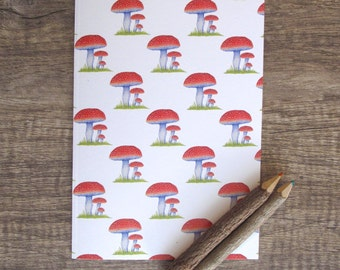 Toadstool Notebook, sketchbook, jotter, notepad, doodle pad, illustrated notebook.