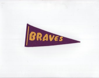 Vintage Baseball Pennant Atlanta Braves Purple & Yellow 1960s SMALL Felt Pennant Mini Flag Sports Collectible Sports Decor Gameroom Man Cave