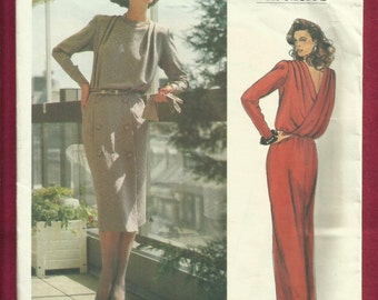 Vintage 1980s Vogue 1449 Dior Evening Dress with Back Drape & Shoulder Pleats Size 14 UNCUT