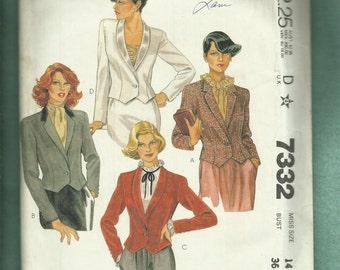 Vintage 1980's McCalls 7332 Fitted Tuxedo Bolero JacketsSize 14 UNCUT
