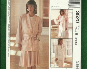 Vintage 1980's McCalls 3520 Easy Fitting Shawl Collar Summer Weight Jacket & Skirt Size 8..10..12 UNCUT