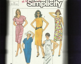 Vintage 1980's Simplicity 7495 Tee Shirt Dress or Shoulder & Side Button Sheath  Size 6..8..10