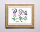 Family Tree Gift Print, Personalised Owl Family Print, Family Names Sign, 3 Owl Family print