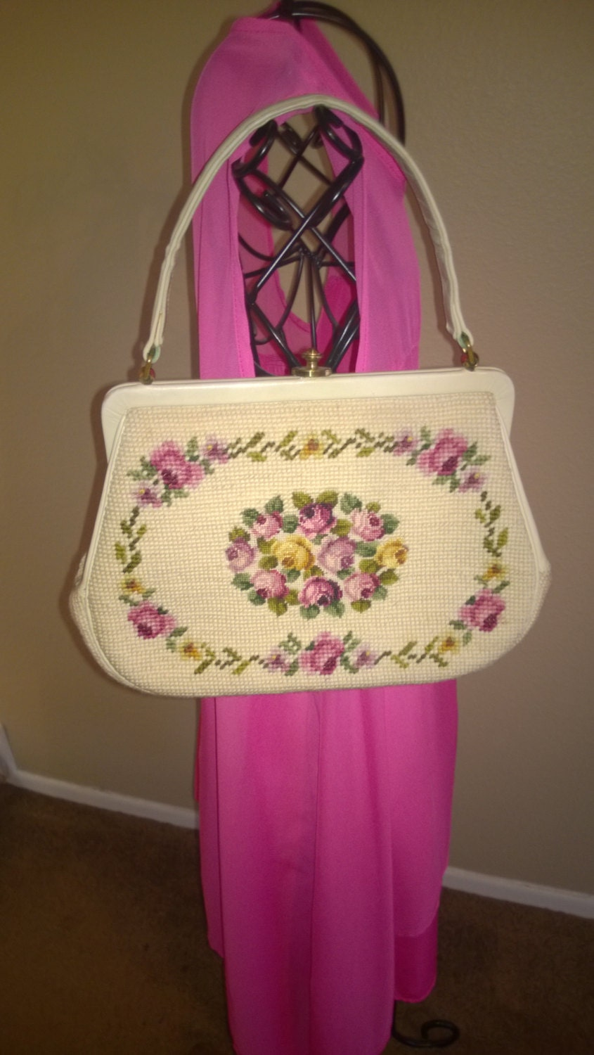 Rose tapestry embroidered purse with mirror s handbag