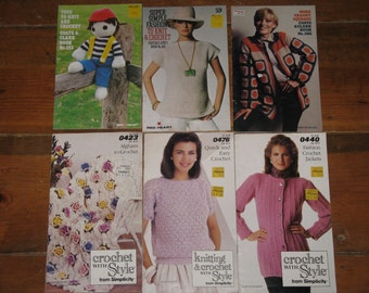 Vintage  Knit and Crochet Pattern Books 1970's-1980's LOT of 6 Coats and Clark and Simplicity