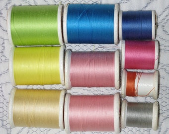 Vintage Sewing Thread  10 Spools Mercerized Cotton Talon Mixed Colors and Spools