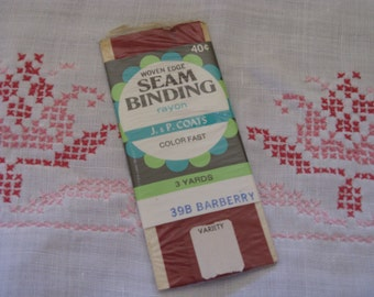 Vintage Rayon Seam Binding Tape  1 New  Package 1960's Color Barberry Red