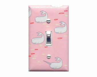 Pink Narwhal Whale Nursery Decor Light Switch Plate / Nautical Baby Girl Room / Under the Sea Bathroom / Blossom Out to Sea
