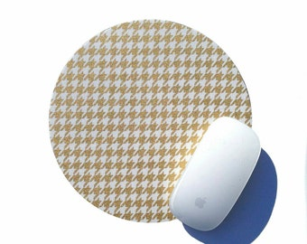 Houndstooth Mouse Pad / Metallic GOLD and White Home Office Desk Decor / Round Mousepad / Nightfall Modern Vintage