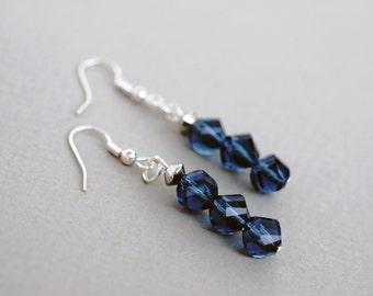 Blue Glass Earrings, Dangle Earrings, Crystal Earrings,
