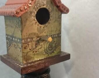 Miniature Bird House on Stand