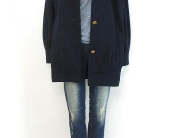 Vintage MINIMALIST Navy Wool Pleated Fisherman Simple Oversize Coat