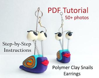 Polymer Clay Tutorial - Snail Earrings